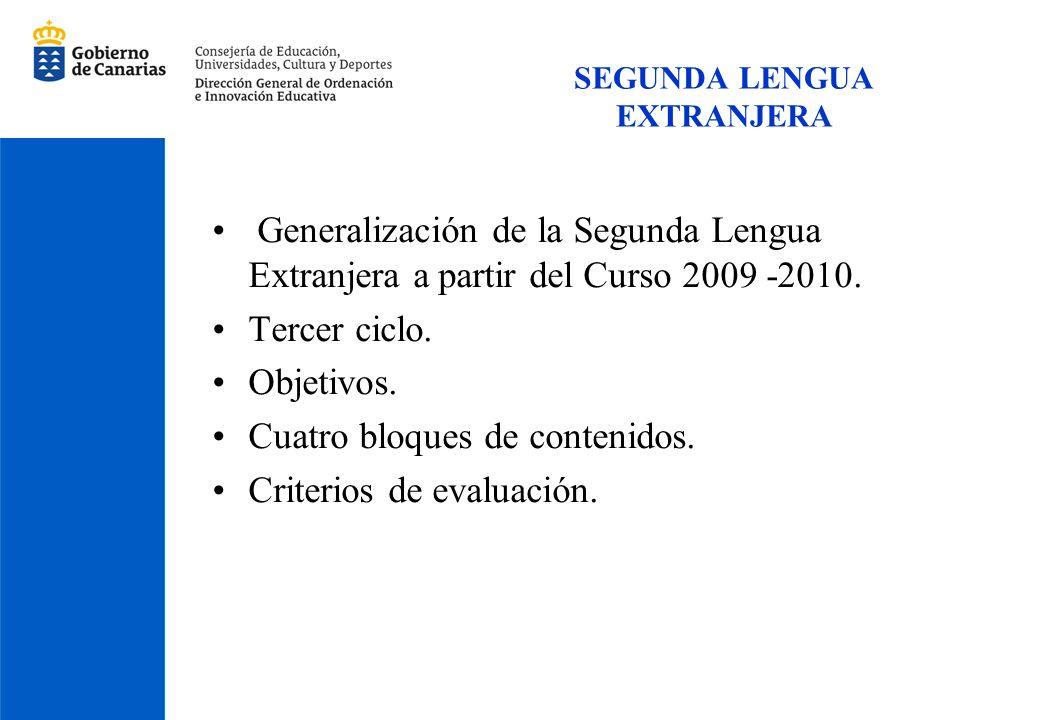 SEGUNDA LENGUA EXTRANJERA Generalización de la Segunda Lengua Extranjera a partir del Curso 2009 -2010. Tercer ciclo. Objetivos. Cuatro bloques de con