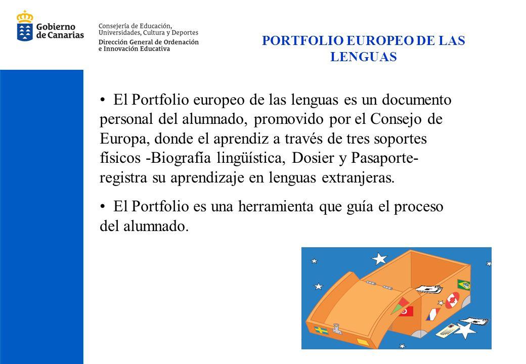 PORTFOLIO EUROPEO DE LAS LENGUAS El Portfolio europeo de las lenguas es un documento personal del alumnado, promovido por el Consejo de Europa, donde