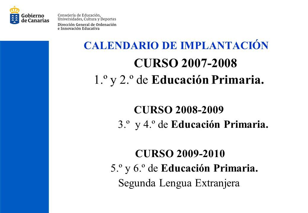 CALENDARIO DE IMPLANTACIÓN CURSO 2007-2008 1.º y 2.º de Educación Primaria. CURSO 2008-2009 3.º y 4.º de Educación Primaria. CURSO 2009-2010 5.º y 6.º