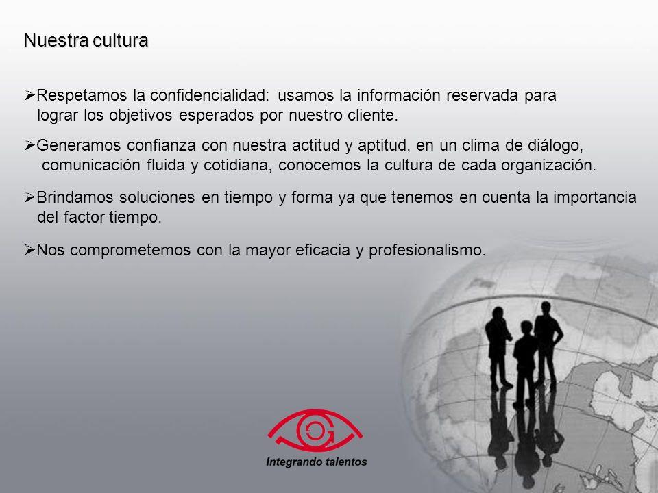 Nuestra cultura Respetamos la confidencialidad: usamos la información reservada para lograr los objetivos esperados por nuestro cliente.
