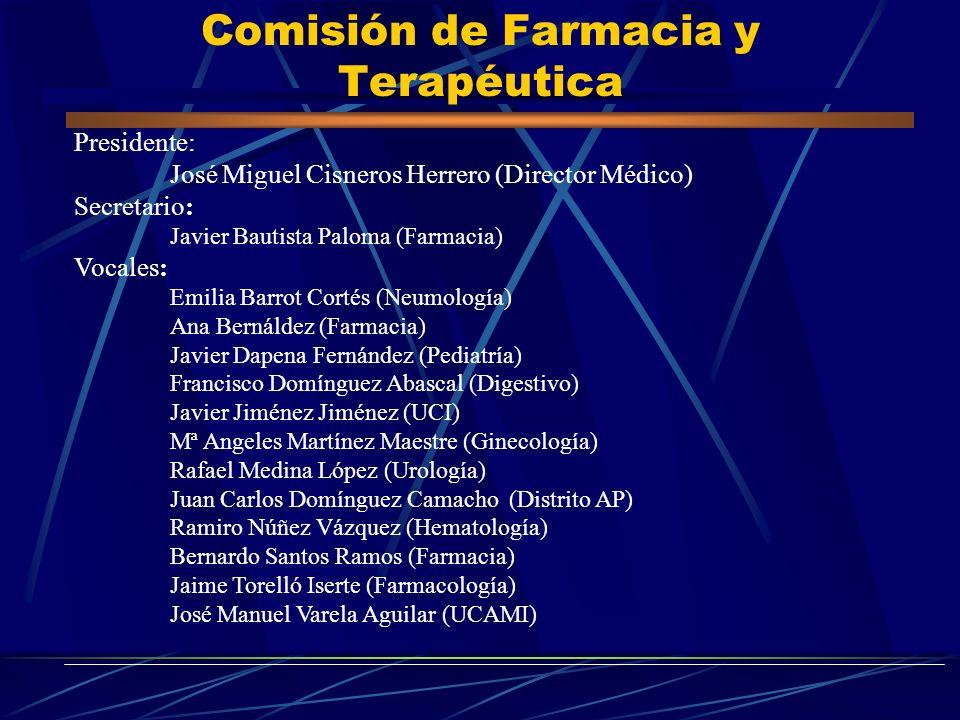 Comisión de Farmacia y Terapéutica Presidente: José Miguel Cisneros Herrero (Director Médico) Secretario: Javier Bautista Paloma (Farmacia) Vocales: E