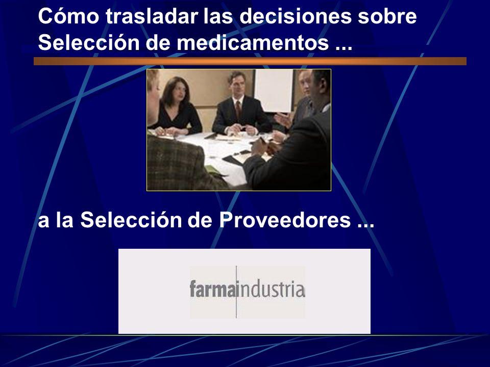 Cómo trasladar las decisiones sobre Selección de medicamentos... a la Selección de Proveedores...