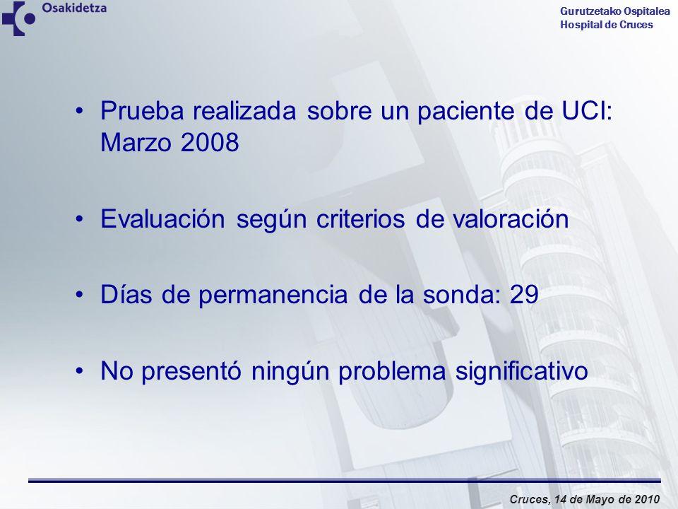 Gurutzetako Ospitalea Hospital de Cruces Cruces, 14 de Mayo de 2010 Prueba realizada sobre un paciente de UCI: Marzo 2008 Evaluación según criterios d