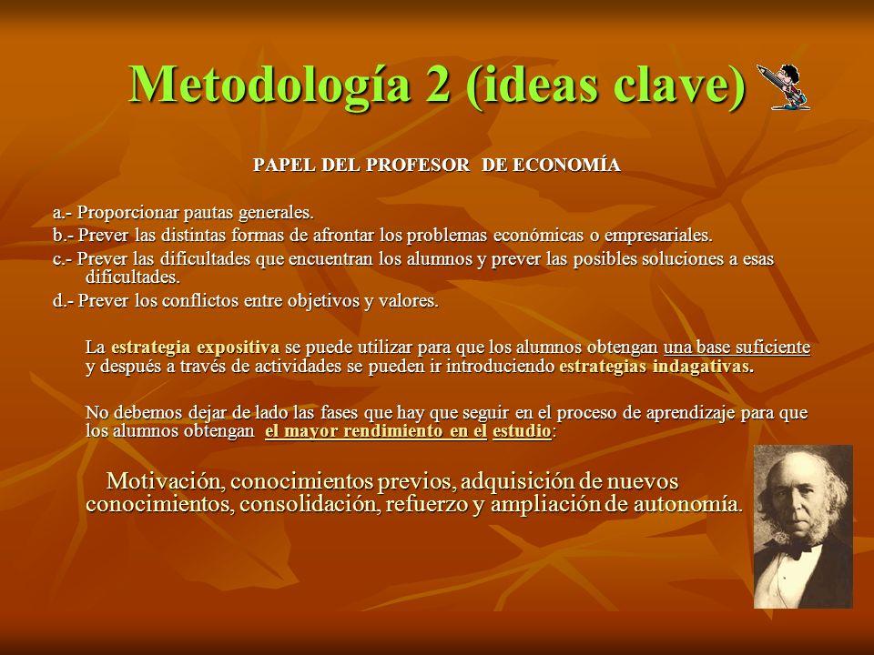 Metodología 2 (ideas clave) PAPEL DEL PROFESOR DE ECONOMÍA a.- Proporcionar pautas generales. b.- Prever las distintas formas de afrontar los problema