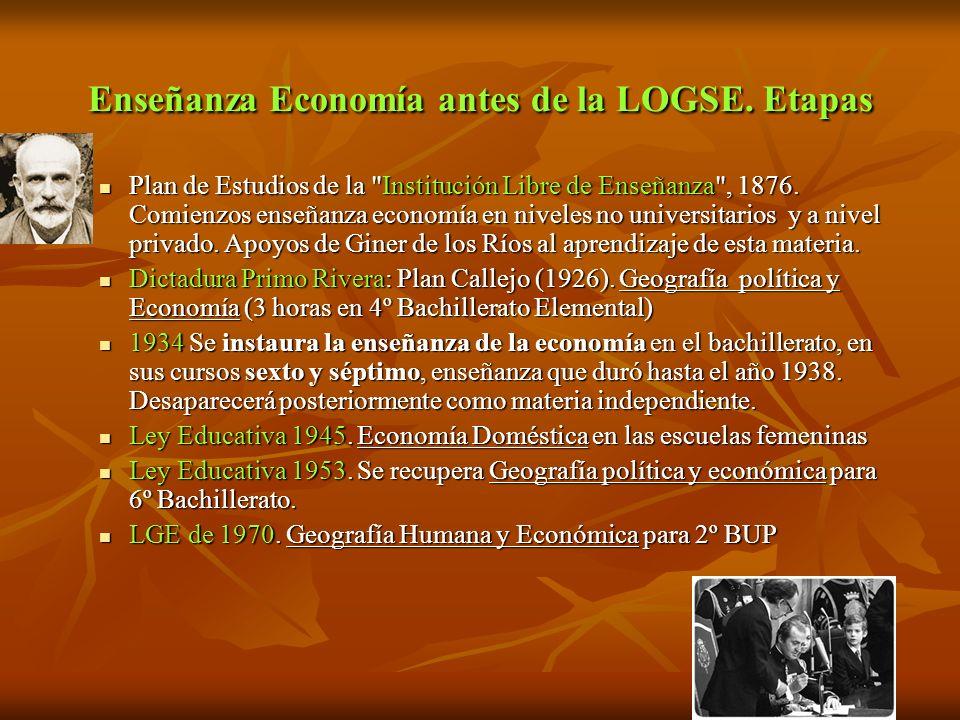 Enseñanza Economía antes de la LOGSE. Etapas Plan de Estudios de la
