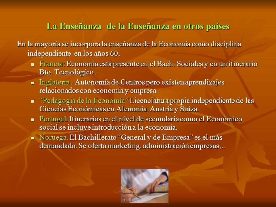 La Enseñanza de la Enseñanza en otros países En la mayoría se incorpora la enseñanza de la Economía como disciplina independiente en los años 60. Fran