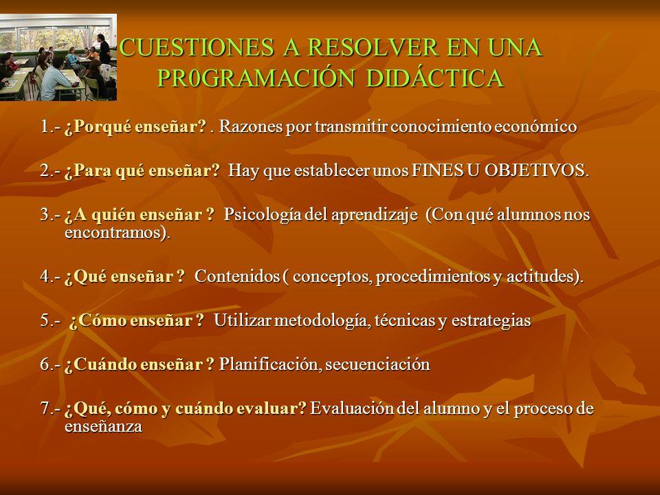 CUESTIONES A RESOLVER EN UNA PR0GRAMACIÓN DIDÁCTICA 1.- ¿Porqué enseñar?.