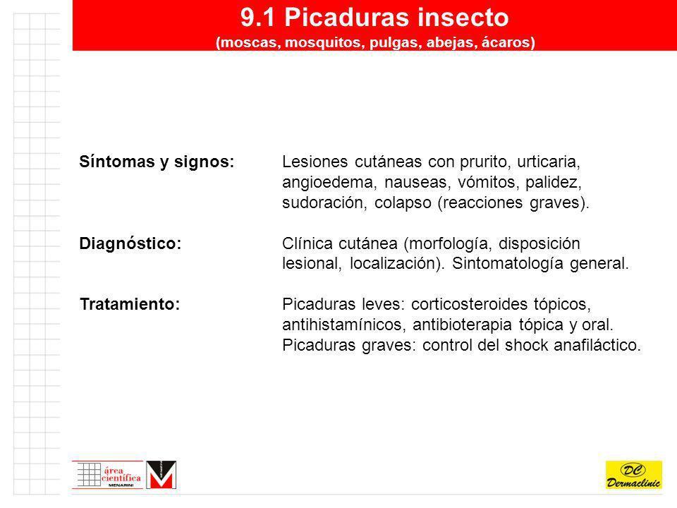 9.1 Picaduras insecto (moscas, mosquitos, pulgas, abejas, ácaros) Síntomas y signos:Lesiones cutáneas con prurito, urticaria, angioedema, nauseas, vóm