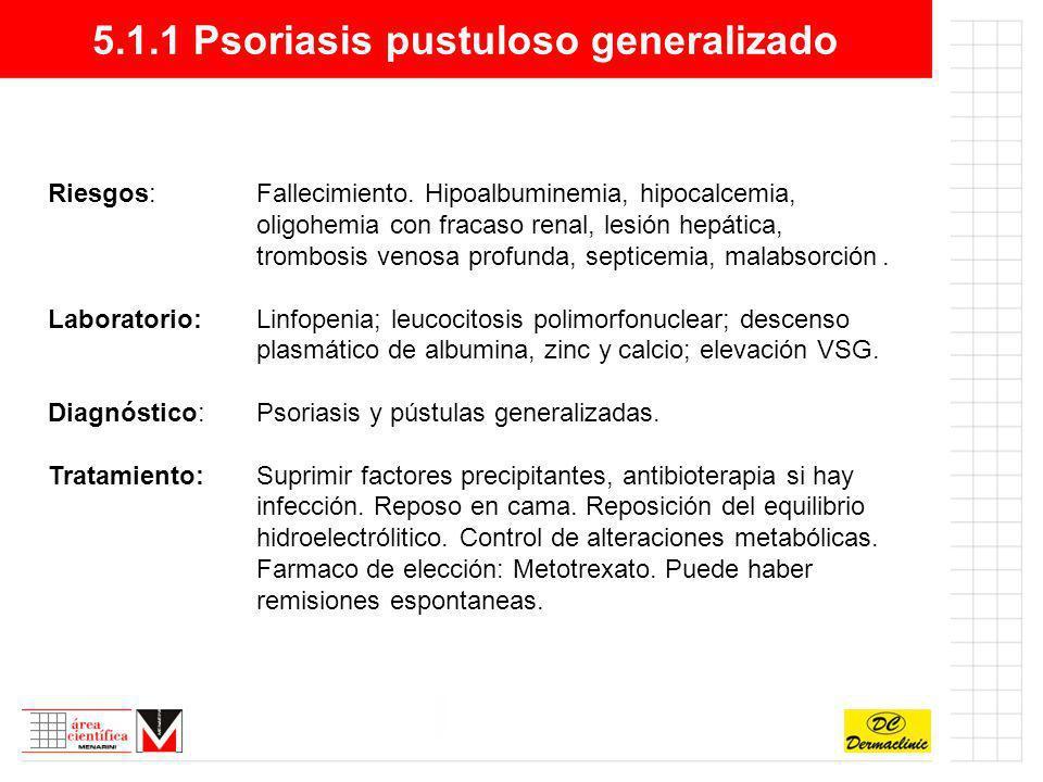 5.1.1 Psoriasis pustuloso generalizado Riesgos:Fallecimiento. Hipoalbuminemia, hipocalcemia, oligohemia con fracaso renal, lesión hepática, trombosis