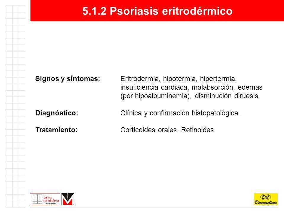 5.1.2 Psoriasis eritrodérmico Signos y síntomas:Eritrodermia, hipotermia, hipertermia, insuficiencia cardiaca, malabsorción, edemas (por hipoalbuminem