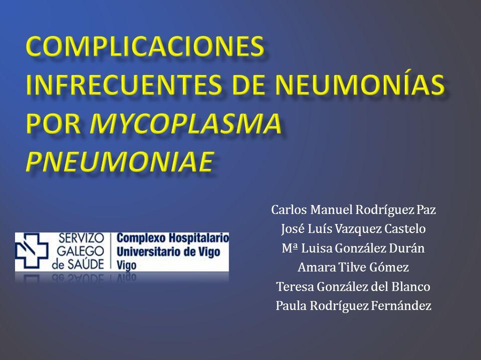 Mycoplasma pneumoniae, es una bacteria sin pared, que fue aislada por primera vez del esputo de un paciente con neumonía atípica por Eaton et al.