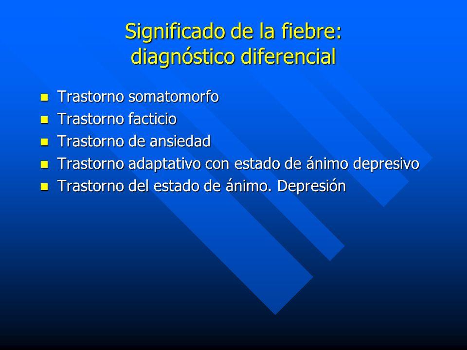 Significado de la fiebre: diagnóstico diferencial Trastorno somatomorfo Trastorno somatomorfo Trastorno facticio Trastorno facticio Trastorno de ansie