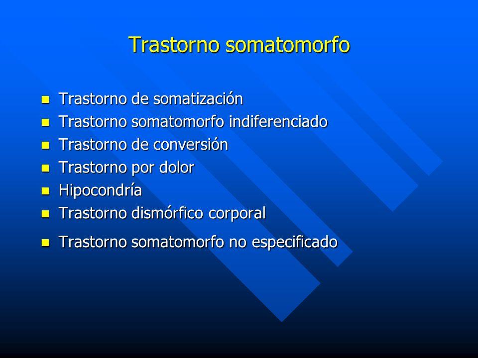Trastorno somatomorfo Trastorno de somatización Trastorno de somatización Trastorno somatomorfo indiferenciado Trastorno somatomorfo indiferenciado Tr