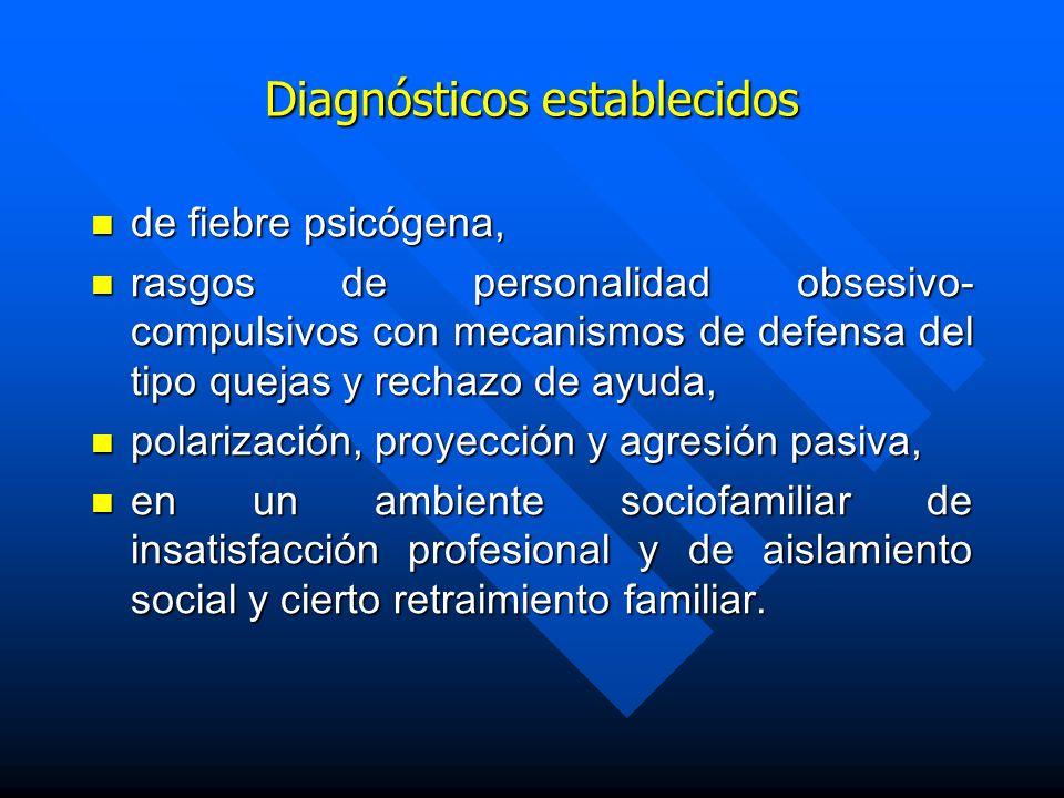 Diagnósticos establecidos de fiebre psicógena, de fiebre psicógena, rasgos de personalidad obsesivo- compulsivos con mecanismos de defensa del tipo qu