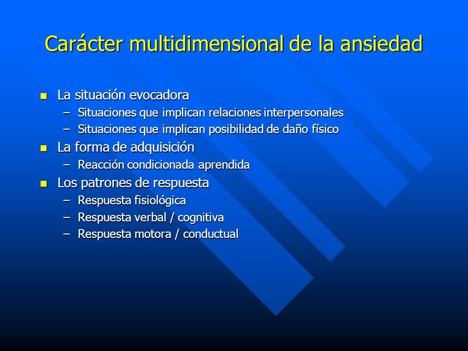 Carácter multidimensional de la ansiedad La situación evocadora La situación evocadora –Situaciones que implican relaciones interpersonales –Situacion