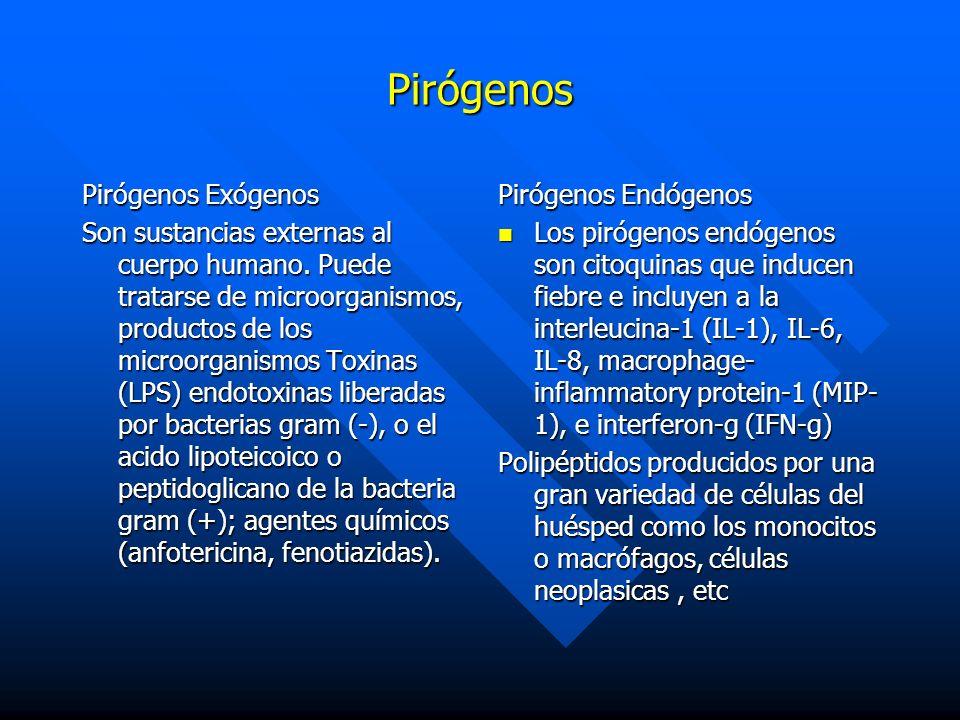 Pirógenos Pirógenos Exógenos Son sustancias externas al cuerpo humano. Puede tratarse de microorganismos, productos de los microorganismos Toxinas (LP