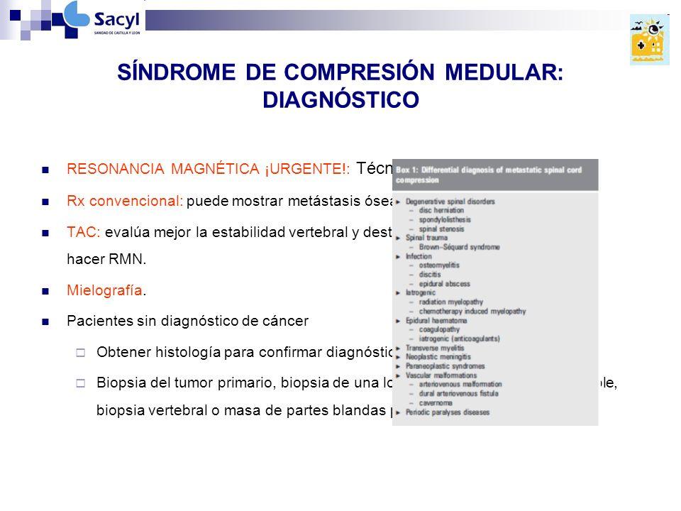 SÍNDROME DE COMPRESIÓN MEDULAR: DIAGNÓSTICO RESONANCIA MAGNÉTICA ¡URGENTE!: Técnica de elección.