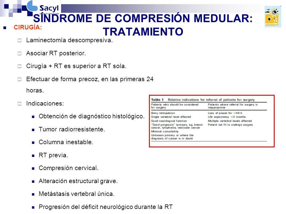 SÍNDROME DE COMPRESIÓN MEDULAR: TRATAMIENTO CIRUGÍA: Laminectomía descompresiva.