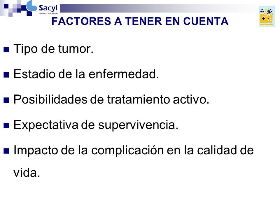 FACTORES A TENER EN CUENTA Tipo de tumor.Estadio de la enfermedad.