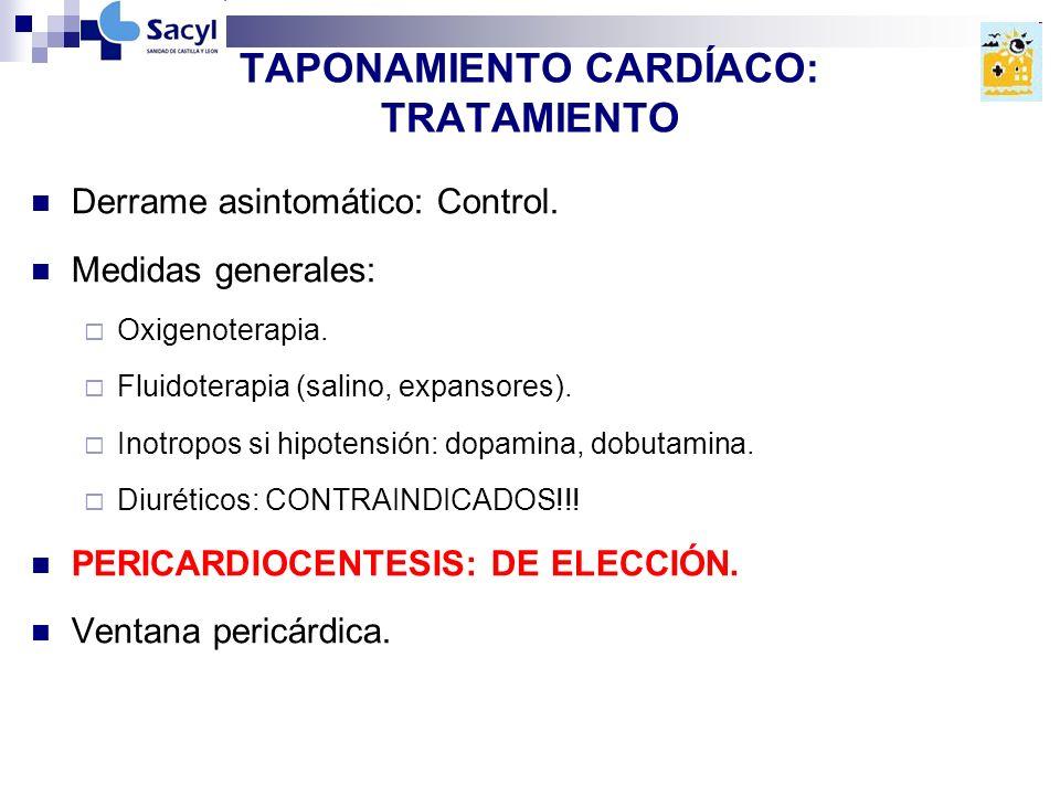 TAPONAMIENTO CARDÍACO: TRATAMIENTO Derrame asintomático: Control.
