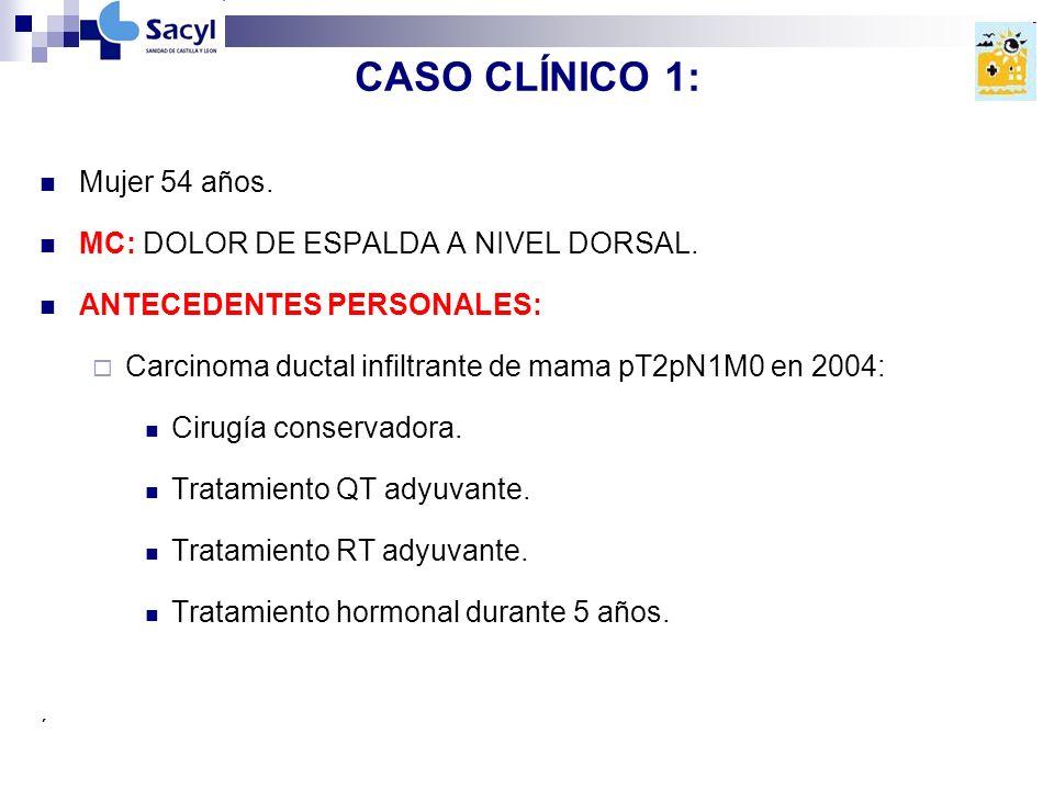 CASO CLÍNICO 1: Mujer 54 años.MC: DOLOR DE ESPALDA A NIVEL DORSAL.