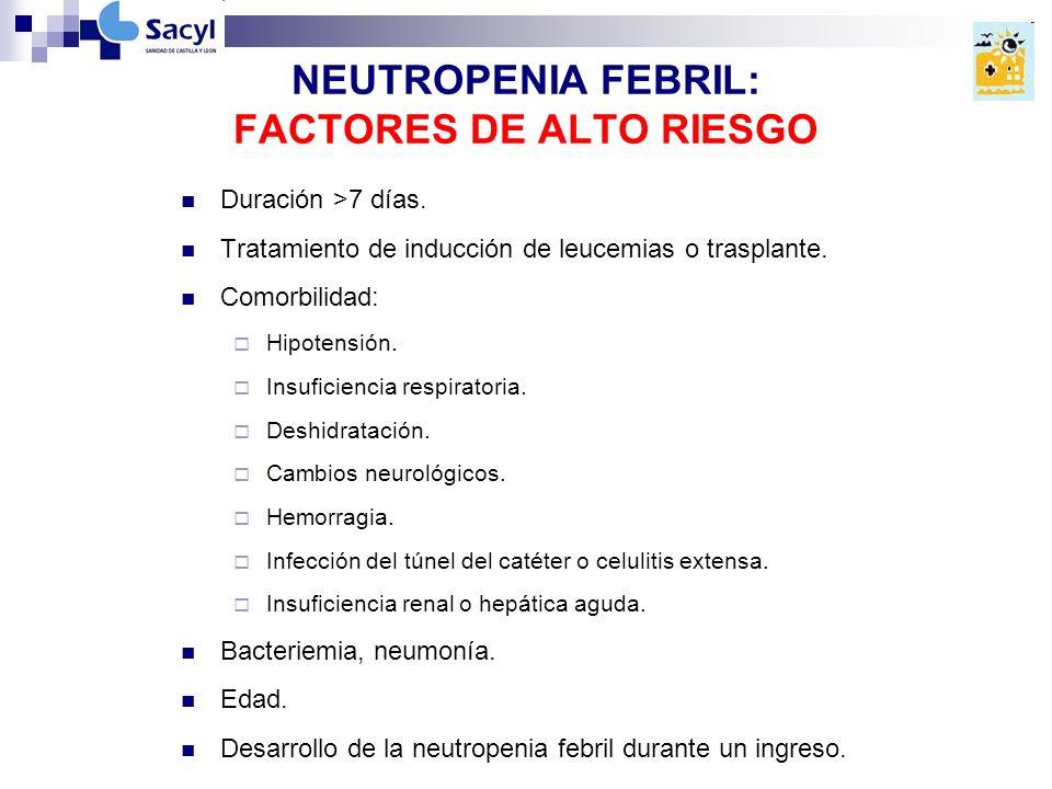NEUTROPENIA FEBRIL: FACTORES DE ALTO RIESGO Duración >7 días.