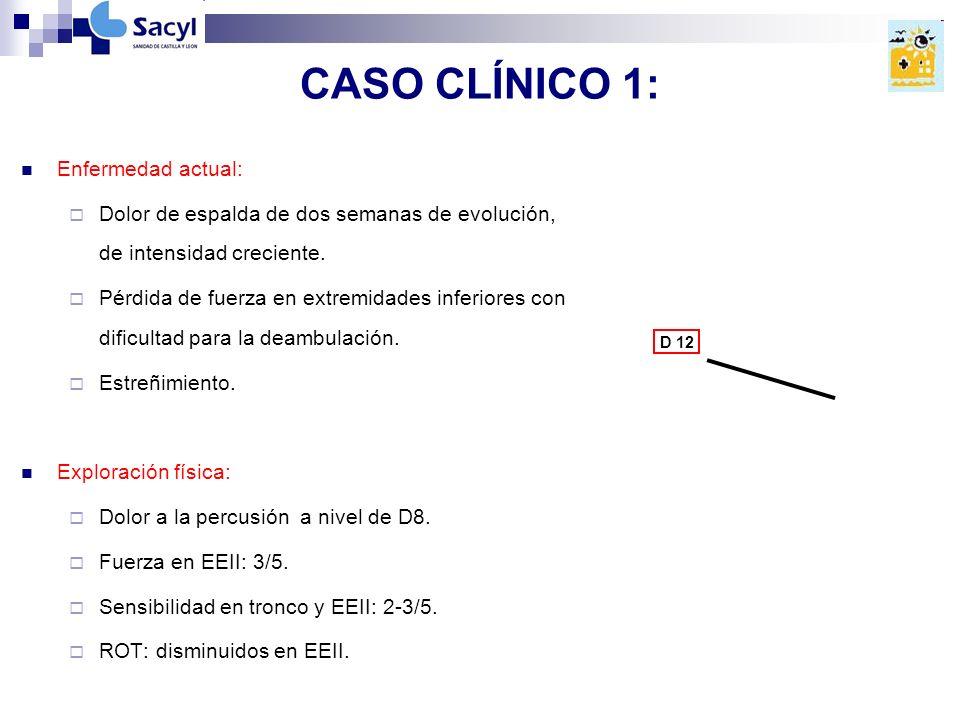 CASO CLÍNICO 1: Enfermedad actual: Dolor de espalda de dos semanas de evolución, de intensidad creciente.