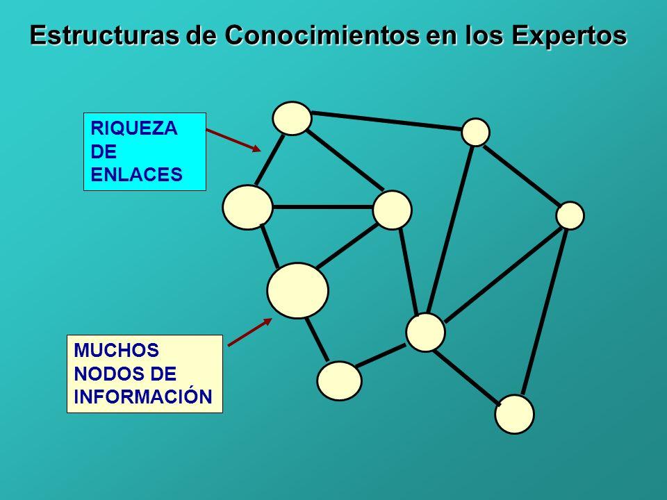 MUCHOS NODOS DE INFORMACIÓN Estructuras de Conocimientos en los Expertos RIQUEZA DE ENLACES