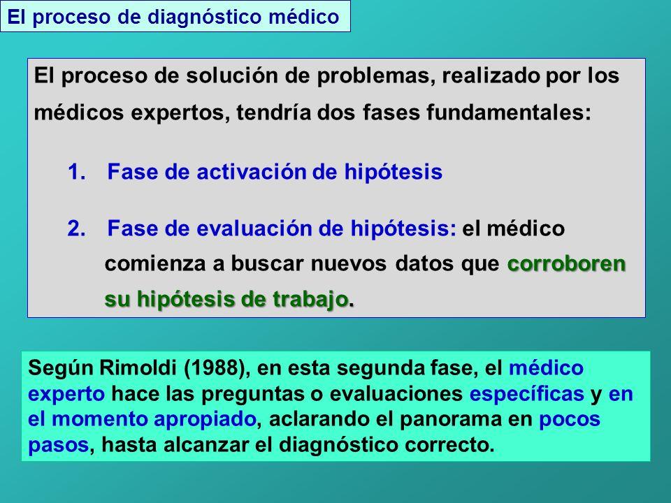 El proceso de diagnóstico médico El proceso de solución de problemas, realizado por los médicos expertos, tendría dos fases fundamentales: 1.
