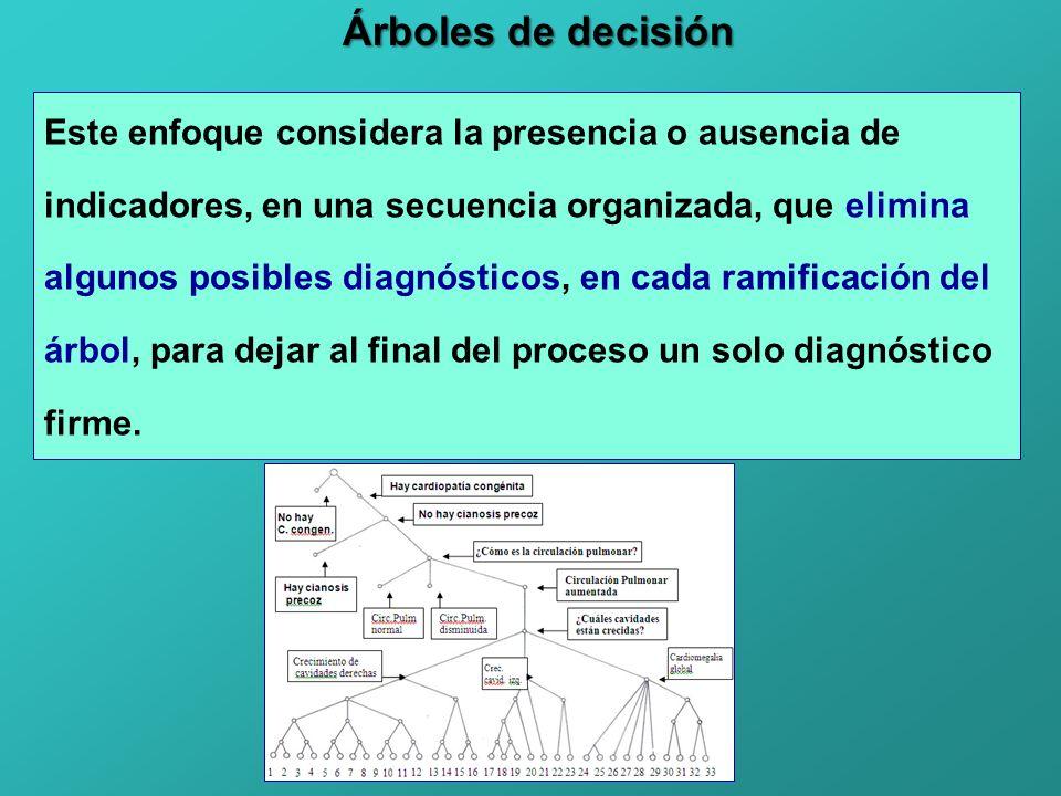 Árboles de decisión Este enfoque considera la presencia o ausencia de indicadores, en una secuencia organizada, que elimina algunos posibles diagnósticos, en cada ramificación del árbol, para dejar al final del proceso un solo diagnóstico firme.