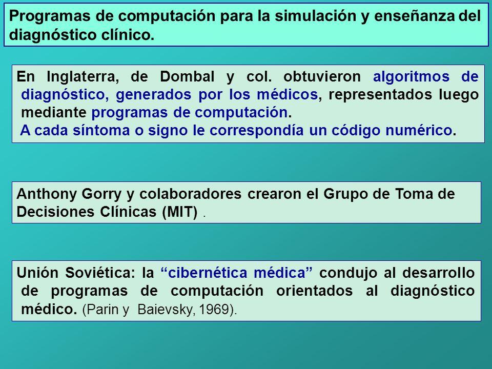 Programas de computación para la simulación y enseñanza del diagnóstico clínico. En Inglaterra, de Dombal y col. obtuvieron algoritmos de diagnóstico,