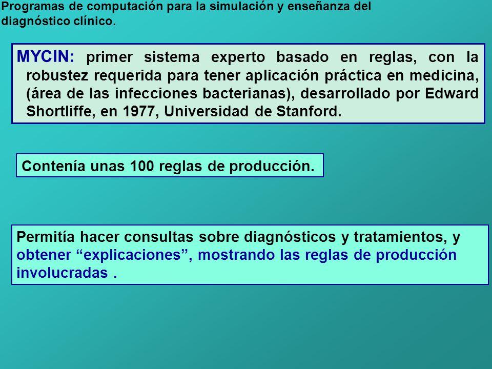 Programas de computación para la simulación y enseñanza del diagnóstico clínico. MYCIN: primer sistema experto basado en reglas, con la robustez reque