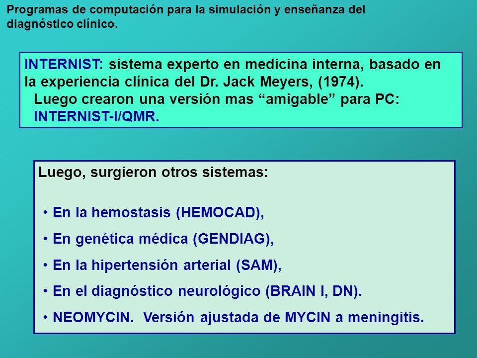 INTERNIST: sistema experto en medicina interna, basado en la experiencia clínica del Dr. Jack Meyers, (1974). Luego crearon una versión mas amigable p