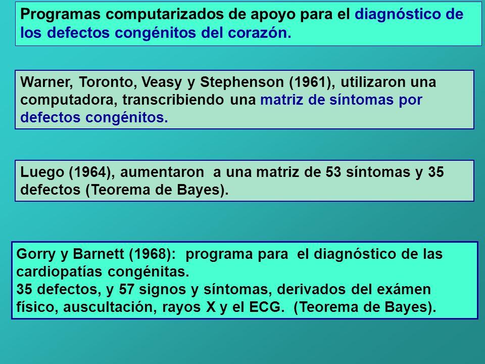 Programas computarizados de apoyo para el diagnóstico de los defectos congénitos del corazón. Warner, Toronto, Veasy y Stephenson (1961), utilizaron u