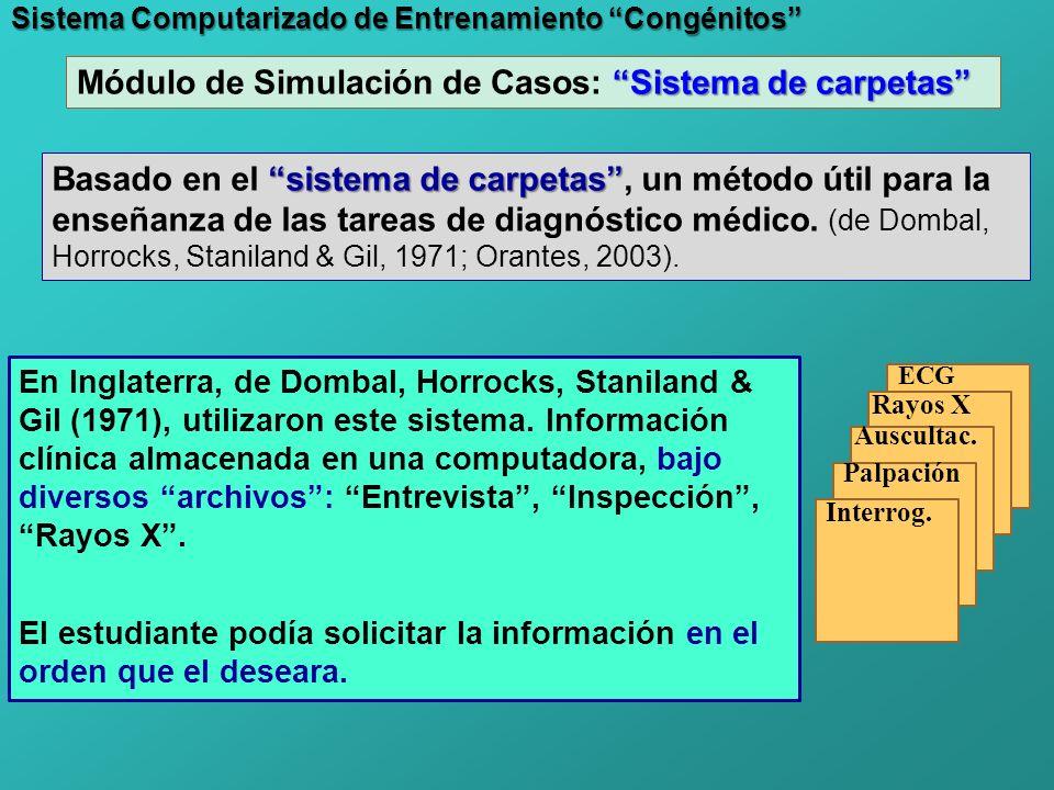 Sistema Computarizado de Entrenamiento Congénitos sistema de carpetas Basado en el sistema de carpetas, un método útil para la enseñanza de las tareas de diagnóstico médico.