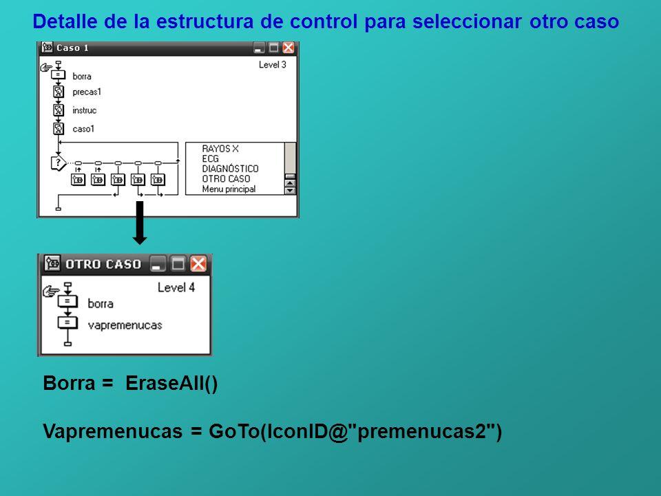 Detalle de la estructura de control para seleccionar otro caso Borra = EraseAll() Vapremenucas = GoTo(IconID@ premenucas2 )