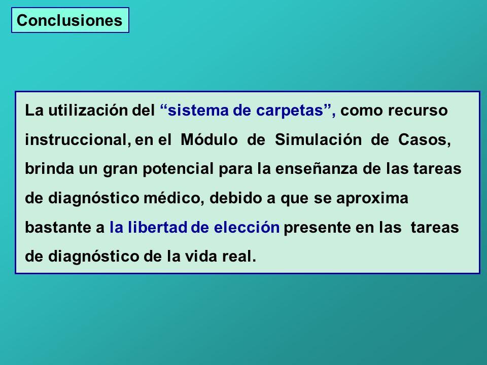 Conclusiones La utilización del sistema de carpetas, como recurso instruccional, en el Módulo de Simulación de Casos, brinda un gran potencial para la