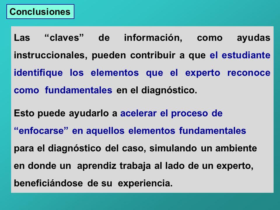 Las claves de información, como ayudas instruccionales, pueden contribuir a que el estudiante identifique los elementos que el experto reconoce como fundamentales en el diagnóstico.