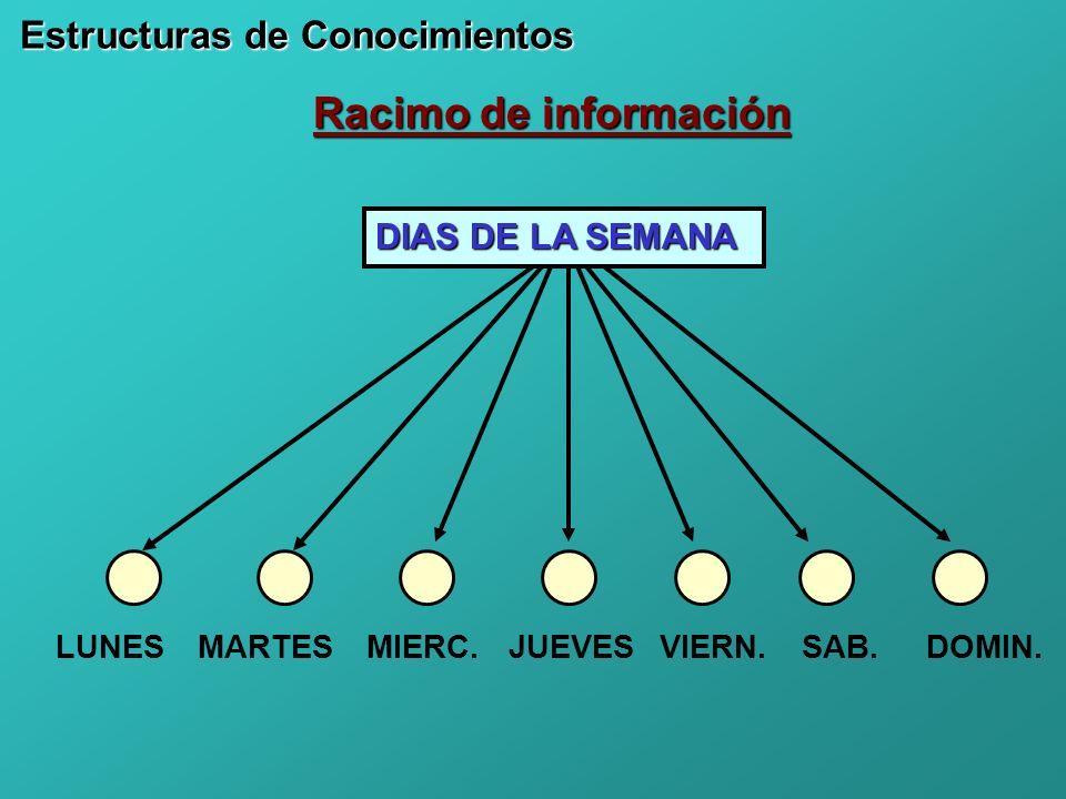 Racimo de información DIAS DE LA SEMANA LUNES Estructuras de Conocimientos MARTESJUEVESMIERC.VIERN.SAB.DOMIN.