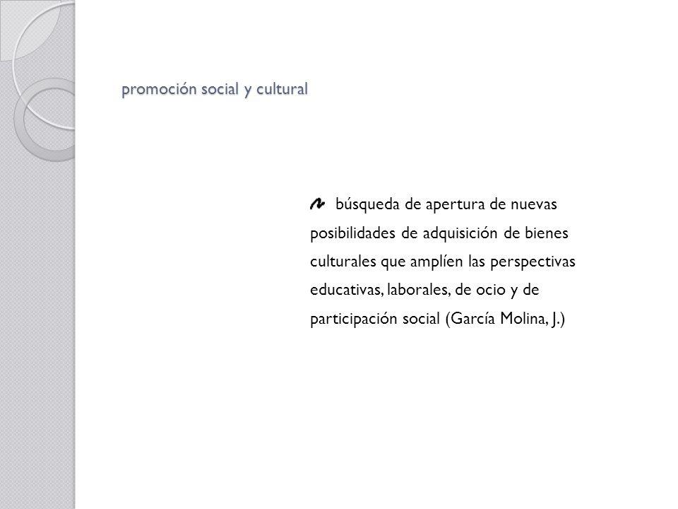 promoción social y cultural búsqueda de apertura de nuevas posibilidades de adquisición de bienes culturales que amplíen las perspectivas educativas,