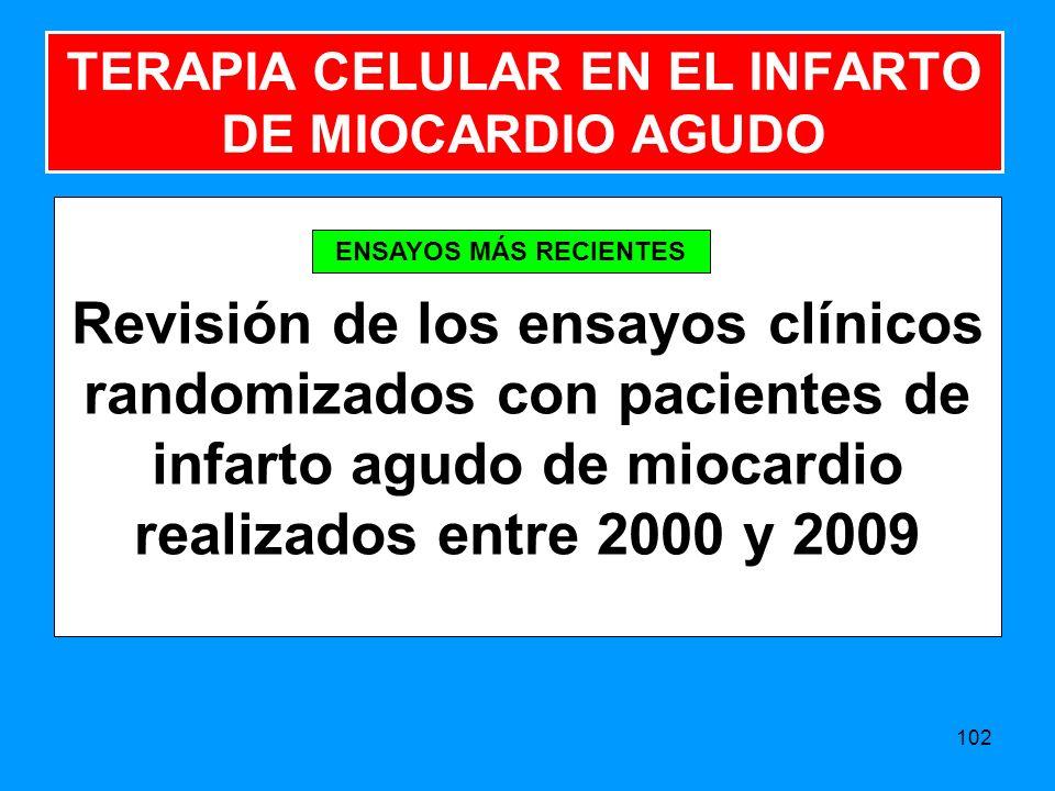Revisión de los ensayos clínicos randomizados con pacientes de infarto agudo de miocardio realizados entre 2000 y 2009 102 TERAPIA CELULAR EN EL INFARTO DE MIOCARDIO AGUDO ENSAYOS MÁS RECIENTES