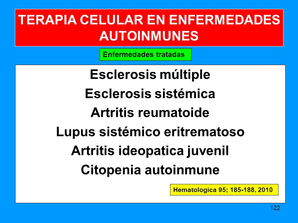 Esclerosis múltiple Esclerosis sistémica Artritis reumatoide Lupus sistémico eritrematoso Artritis ideopatica juvenil Citopenia autoinmune 122 Enfermedades tratadas TERAPIA CELULAR EN ENFERMEDADES AUTOINMUNES Hematologica 95; 185-188, 2010