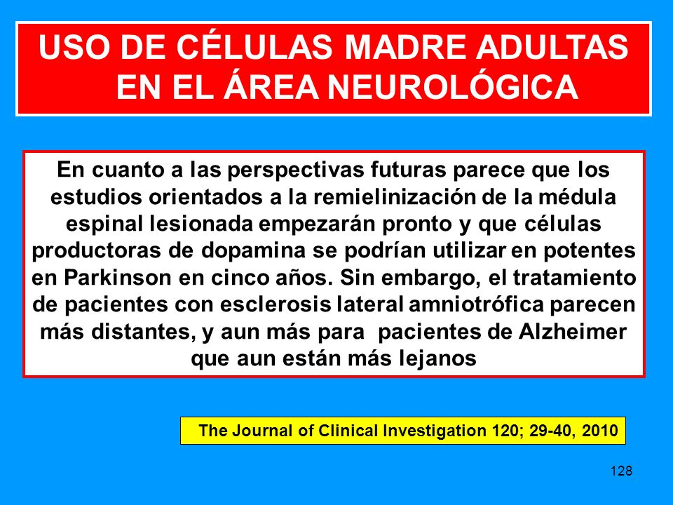 128 En cuanto a las perspectivas futuras parece que los estudios orientados a la remielinización de la médula espinal lesionada empezarán pronto y que células productoras de dopamina se podrían utilizar en potentes en Parkinson en cinco años.
