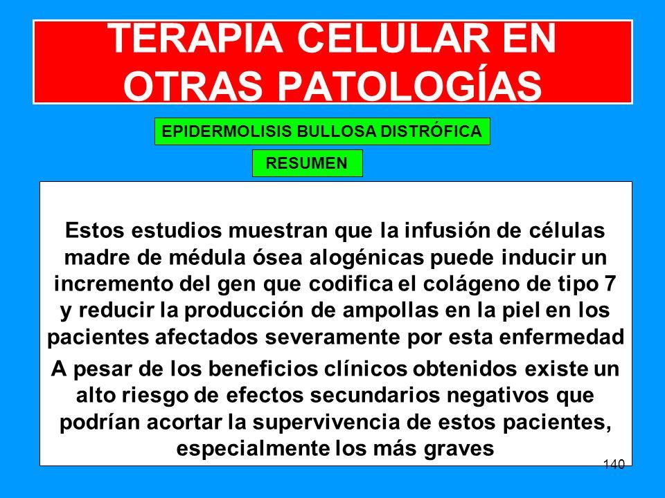 Estos estudios muestran que la infusión de células madre de médula ósea alogénicas puede inducir un incremento del gen que codifica el colágeno de tipo 7 y reducir la producción de ampollas en la piel en los pacientes afectados severamente por esta enfermedad A pesar de los beneficios clínicos obtenidos existe un alto riesgo de efectos secundarios negativos que podrían acortar la supervivencia de estos pacientes, especialmente los más graves 140 RESUMEN TERAPIA CELULAR EN OTRAS PATOLOGÍAS EPIDERMOLISIS BULLOSA DISTRÓFICA
