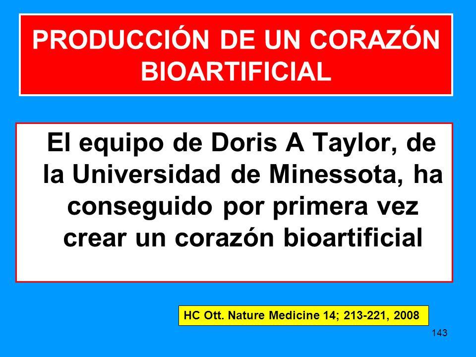 143 PRODUCCIÓN DE UN CORAZÓN BIOARTIFICIAL El equipo de Doris A Taylor, de la Universidad de Minessota, ha conseguido por primera vez crear un corazón bioartificial HC Ott.