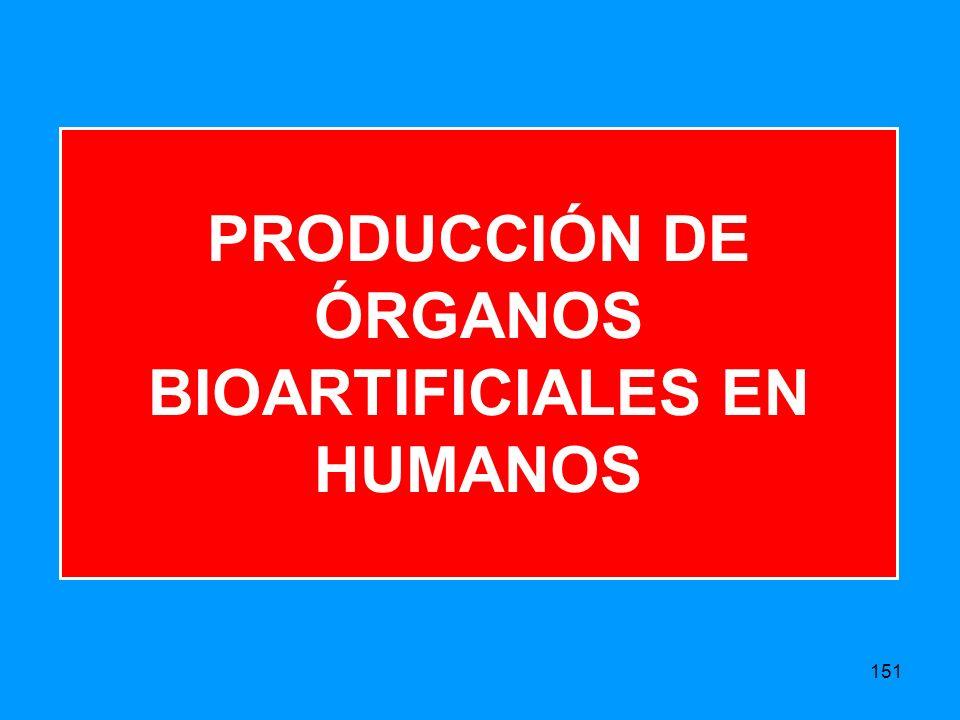PRODUCCIÓN DE ÓRGANOS BIOARTIFICIALES EN HUMANOS 151