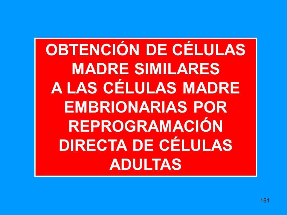 161 OBTENCIÓN DE CÉLULAS MADRE SIMILARES A LAS CÉLULAS MADRE EMBRIONARIAS POR REPROGRAMACIÓN DIRECTA DE CÉLULAS ADULTAS