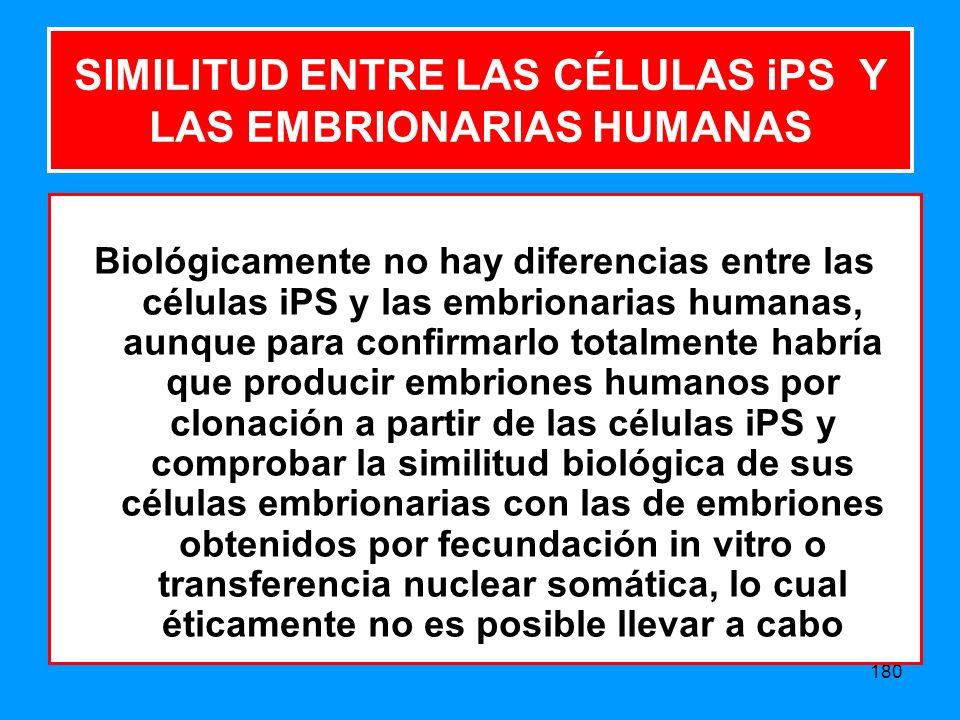 180 SIMILITUD ENTRE LAS CÉLULAS iPS Y LAS EMBRIONARIAS HUMANAS Biológicamente no hay diferencias entre las células iPS y las embrionarias humanas, aunque para confirmarlo totalmente habría que producir embriones humanos por clonación a partir de las células iPS y comprobar la similitud biológica de sus células embrionarias con las de embriones obtenidos por fecundación in vitro o transferencia nuclear somática, lo cual éticamente no es posible llevar a cabo