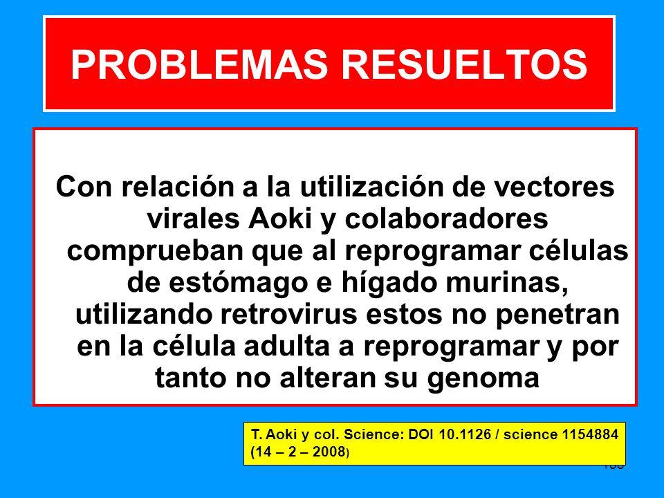 188 Con relación a la utilización de vectores virales Aoki y colaboradores comprueban que al reprogramar células de estómago e hígado murinas, utilizando retrovirus estos no penetran en la célula adulta a reprogramar y por tanto no alteran su genoma PROBLEMAS RESUELTOS T.
