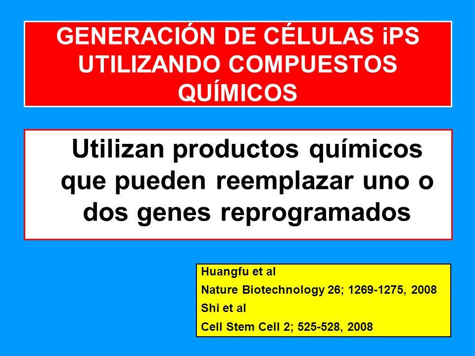 191 Utilizan productos químicos que pueden reemplazar uno o dos genes reprogramados GENERACIÓN DE CÉLULAS iPS UTILIZANDO COMPUESTOS QUÍMICOS Huangfu et al Nature Biotechnology 26; 1269-1275, 2008 Shi et al Cell Stem Cell 2; 525-528, 2008